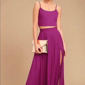 Thought of You Magenta Two Piece Maxi Dress
